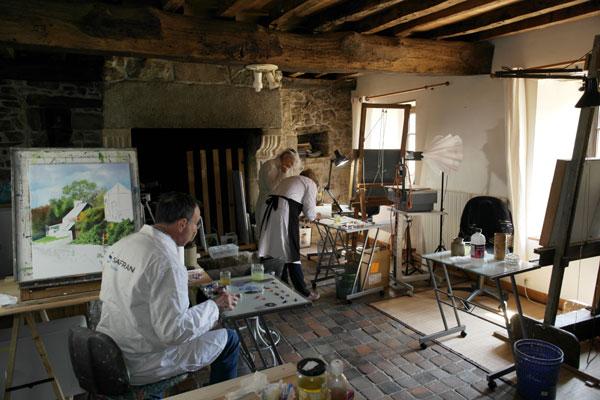 deux élèves du cours de peinture à l'huile