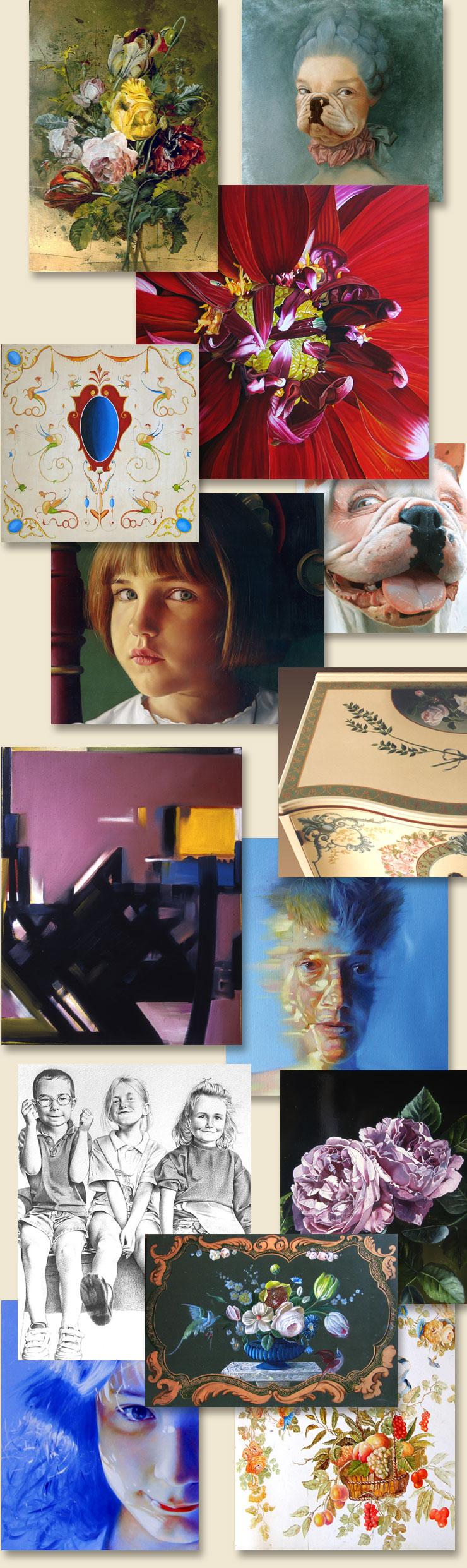 reproductions de quelques réalisations des professeurs des cours et stages de peinture